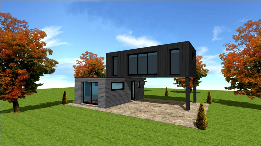 Plan modele maison concept constructeur lofts pilotis for Construction maison avec container