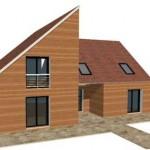 Bois Contemporain Pente R1 1 maison ossature bois constructeur architecte