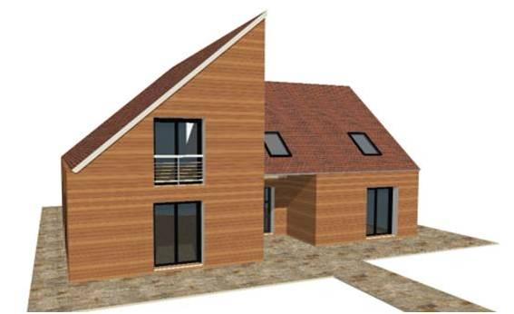 D couvrez nos maisons ossature bois bois contemporain for Constructeur maison en bois 95